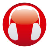 Red headphone emblem icon Royalty Free Stock Photography