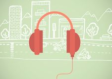 Red headphone illustration icon in cirlce against green background with street drawing Royalty Free Stock Image