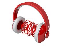 Red headphones Stock Photos