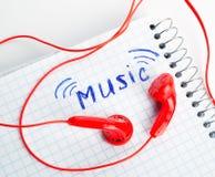 Red headphones Stock Photos