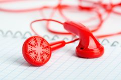 Red headphones Stock Photo