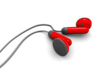 Red headphones Stock Images