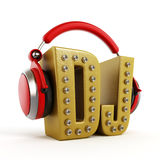 Red headphones on gold DJ word. Isolated on white background Royalty Free Stock Images