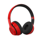 Red Headphones Isolated Stock Images