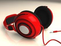 Red Headphones Low Left DOF Royalty Free Stock Photo