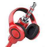 Red headphones with 3.5 mm jack plug. 3d illustration isolated over white background Stock Photo