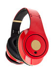 Red headphones on the white background Stock Images