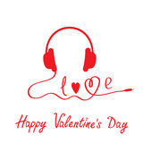 Red headphones.  White background.  Happy Valentin Royalty Free Stock Photos