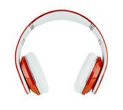 Red headphones on white background Royalty Free Stock Photos