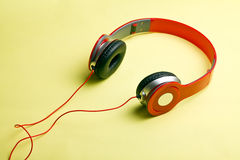 Red headphones Stock Photography
