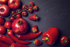 Red healphy vegetables and fruits Royalty Free Stock Photography
