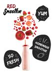 Red healthy berries smoothie in glass bottle. Isolated on white with homemade smoothie and so fresh inspirations in speech bubbles royalty free stock photo
