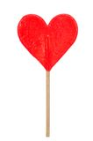Red heart shaped lollipop Stock Image