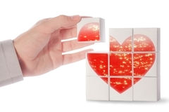Red heart. A red heart made from cubes Royalty Free Stock Photography