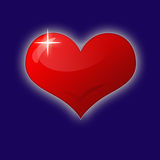 Red heart. Vector red heart on blue background Royalty Free Stock Photo