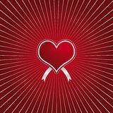 Red heart. Valentines day - red heart on a red and silver sun effect background Stock Photos
