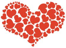 Red heart. Big heart made of small red hearts Stock Photography