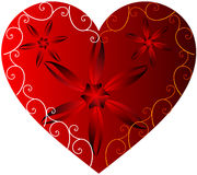 Red heart. Design with flowers and scrolls Royalty Free Stock Photography