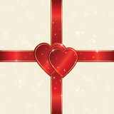 Red heart. Heart and ribbon wrapping paper sheet, illustration Stock Photos