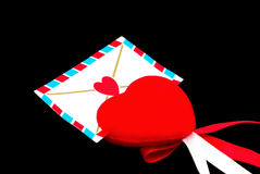 Red heart. With a message Stock Photography