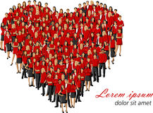 Red heart. Group of people wearing red clothes forming a big heart Stock Photography