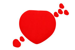 Red heart. Heart shaped arrow isolated on white Stock Images