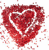 Red heart. Red confetti heart on white Royalty Free Stock Photos