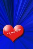 Red heart. I love you on the blue background Royalty Free Stock Photos