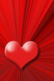 Red heart. On the red abstract background Royalty Free Stock Image