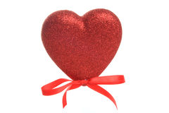 Red Heart. Photograph of a red heart shot in studio against a white background Royalty Free Stock Photography