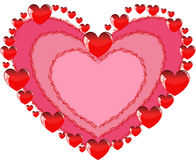 A red heart. Pink heart and a lot of red hearts for lovers Stock Photo