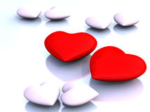 Red Heart. Over white shiny background Stock Photos