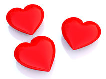 Red Heart. Over white shiny background Stock Images