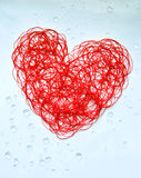 Red heart. Single red heart made of thread Royalty Free Stock Image