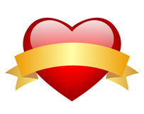 Red heart. Red glass heart with ribbon Stock Image