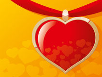 Red heart. Heart on a red ribbon Royalty Free Stock Image