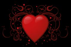 Red heart. On a black background Royalty Free Stock Photography