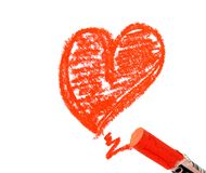 Red heart. On white, crayon drawing vector illustration