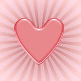 Red heart. Shiny red heart over rays background stock illustration