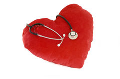 Red heart. With a stethoscope Stock Image