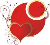 Red heart. Heart in a framework имитирущей gold with vegetative ornaments Royalty Free Stock Images