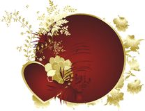 Red heart. With colours against a circle and an ornament Royalty Free Stock Photos