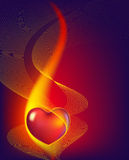 Red heart. Abstract hot red heart in fire Royalty Free Stock Photos