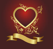 Red heart. On a vegetative ornament. Vector illustration Royalty Free Stock Photo
