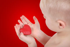 Red heart. In boys hands stock photography