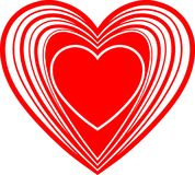 Red Heart. Abstract Love st. Valentine Red Heart Isolated In White Royalty Free Stock Photo