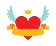 Red heart abstract with crown, wings and yellow ribbon for your text flat vector illustration. Royalty Free Stock Images
