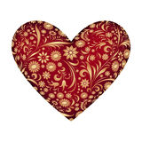 Red heart with abstract floral pattern Royalty Free Stock Photography