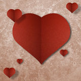 Red heart on abstract grunge paper background Stock Photography