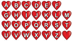 Red heart alphabet Stock Image